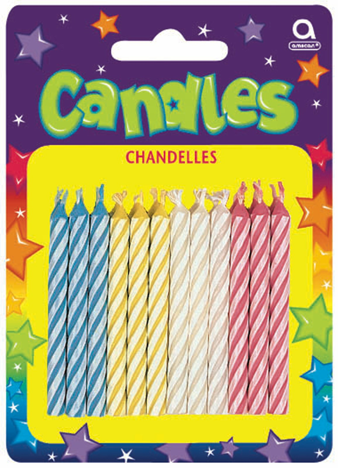 Candy Stripe Assorted Birthday Candles (24)