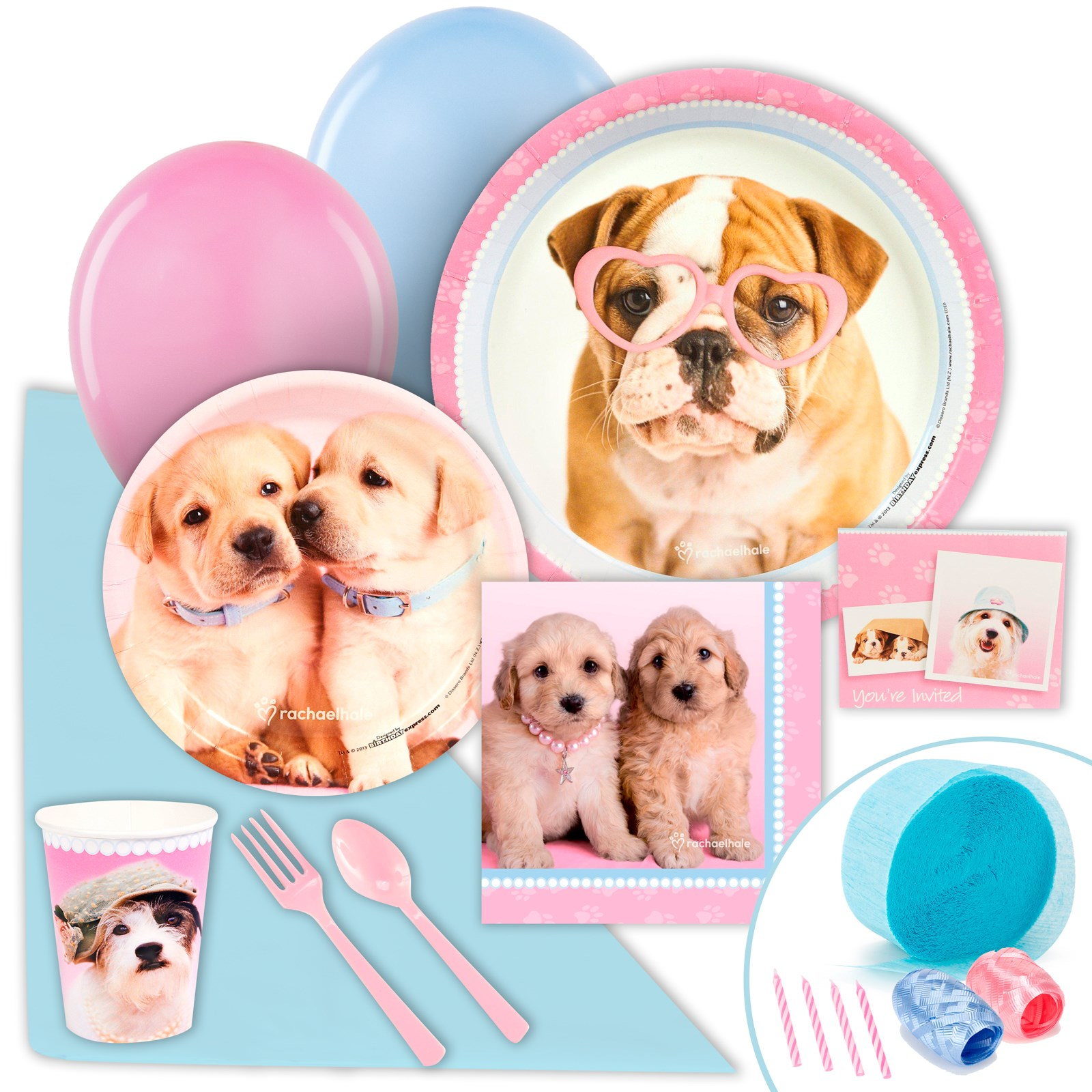 Rachaelhale Glamour Dogs Just Because Party Pack for 8 kids birthday partyware