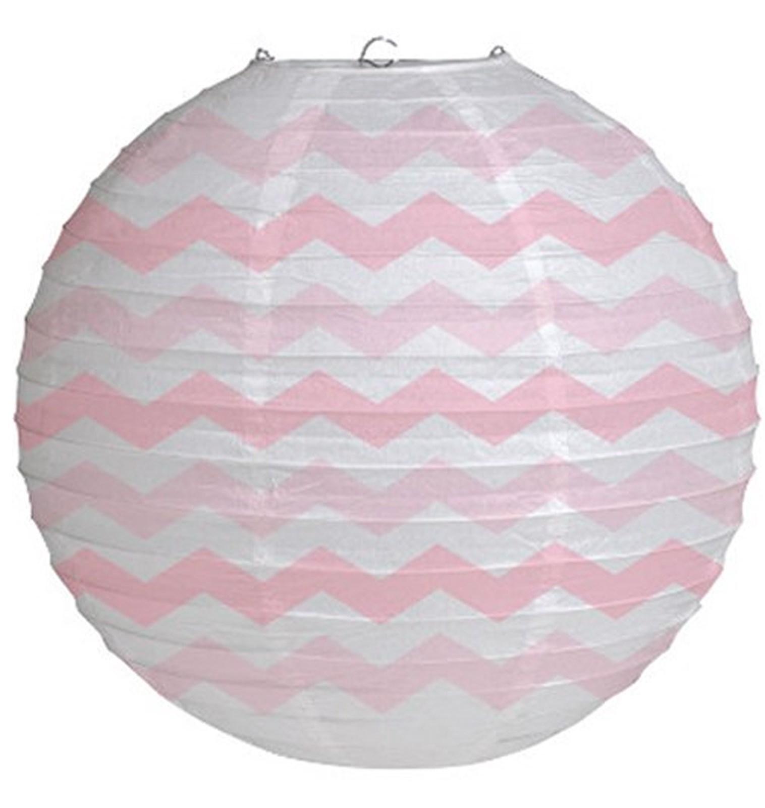 "Image of 12"" Round Paper Chevron Lantern - Classic Pink"
