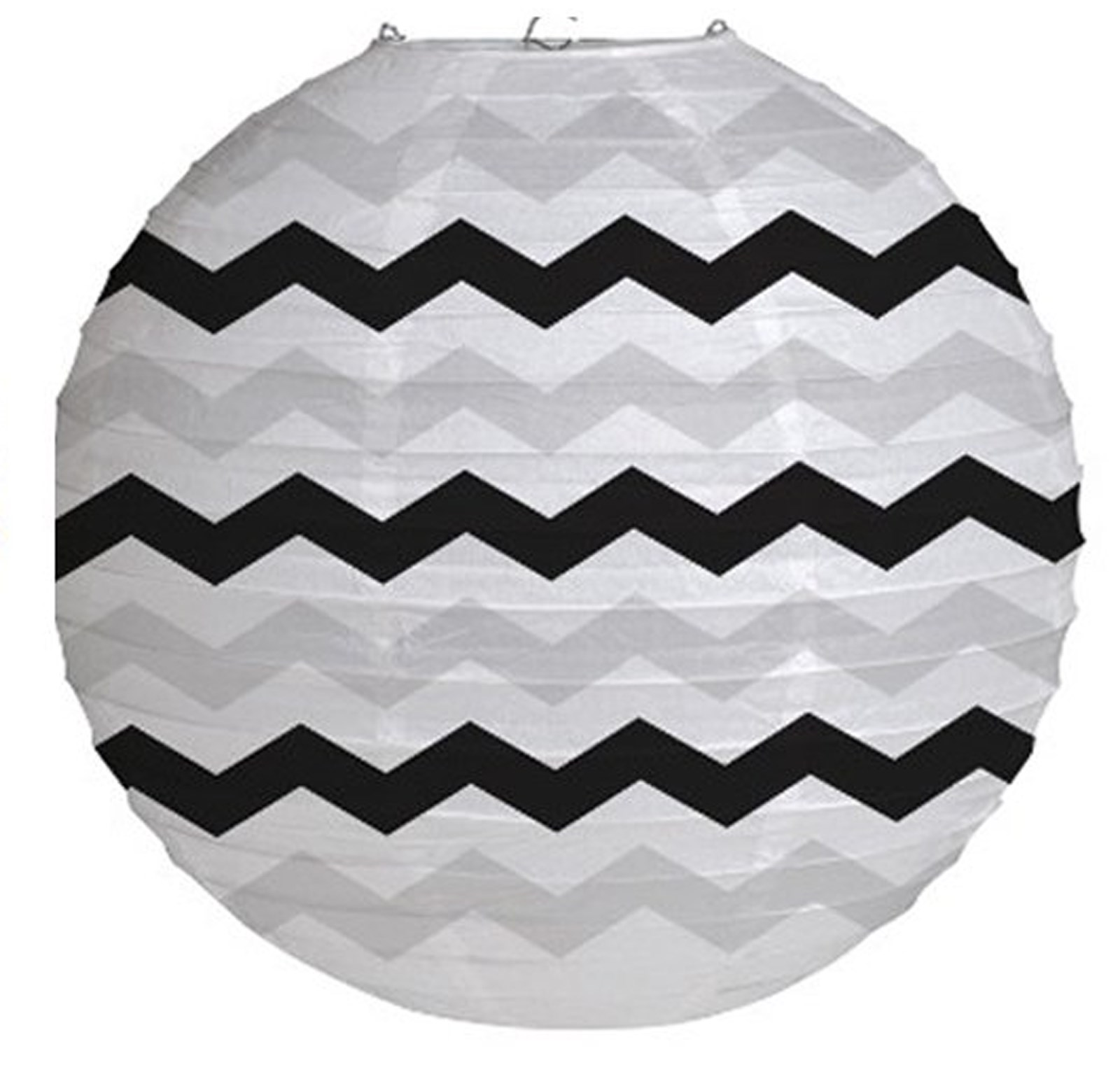 "Image of 12"" Round Paper Chevron Lantern - Black"