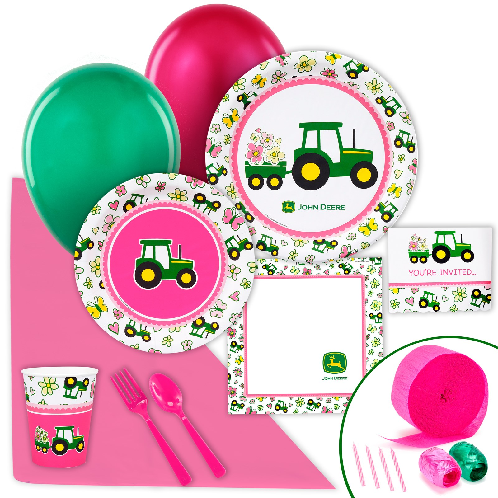 John Deere Pink Just Because Party Pack for 8 kids birthday partyware