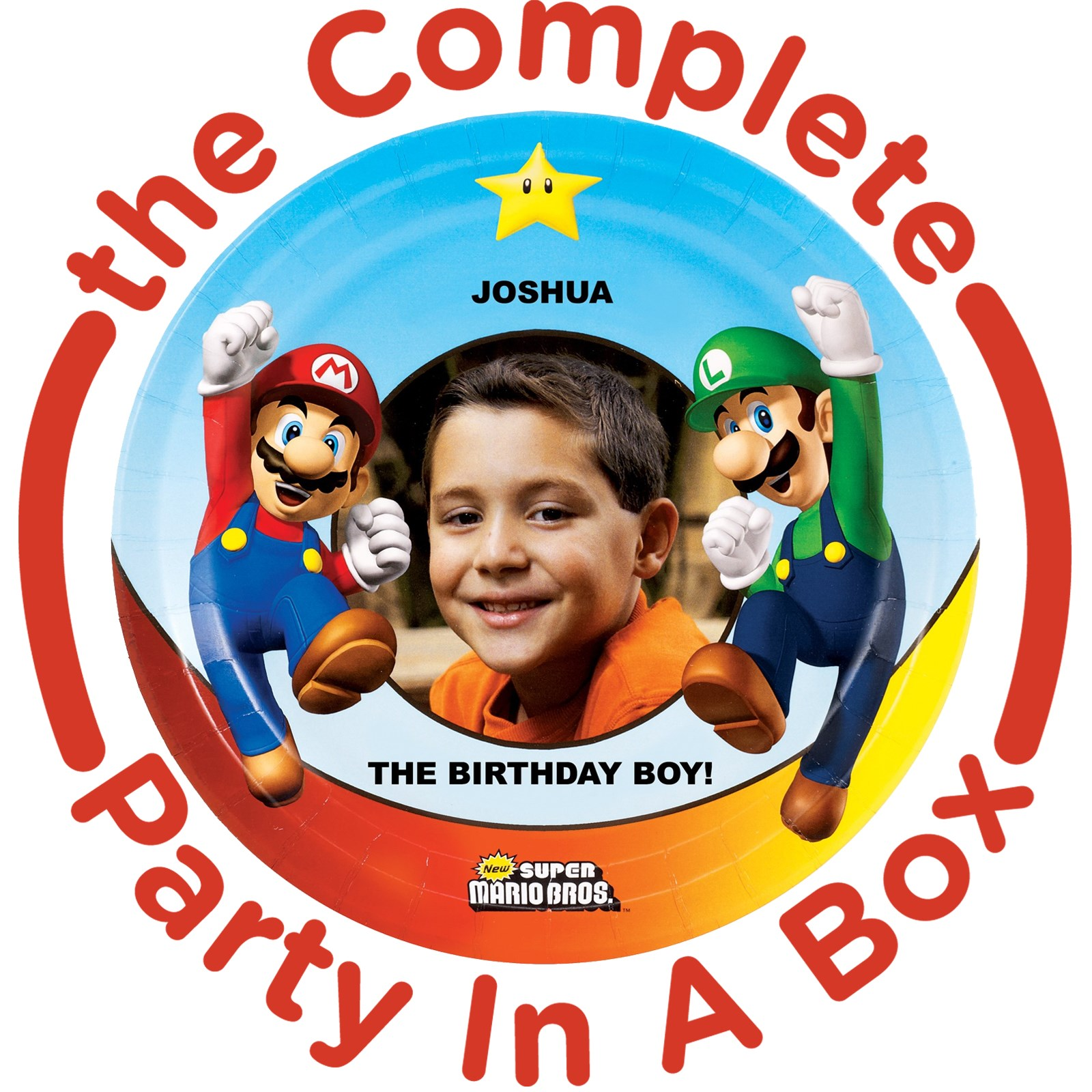 Super Mario Bros. Personalized Party in a Box - Deluxe with Favors - 8 Guests