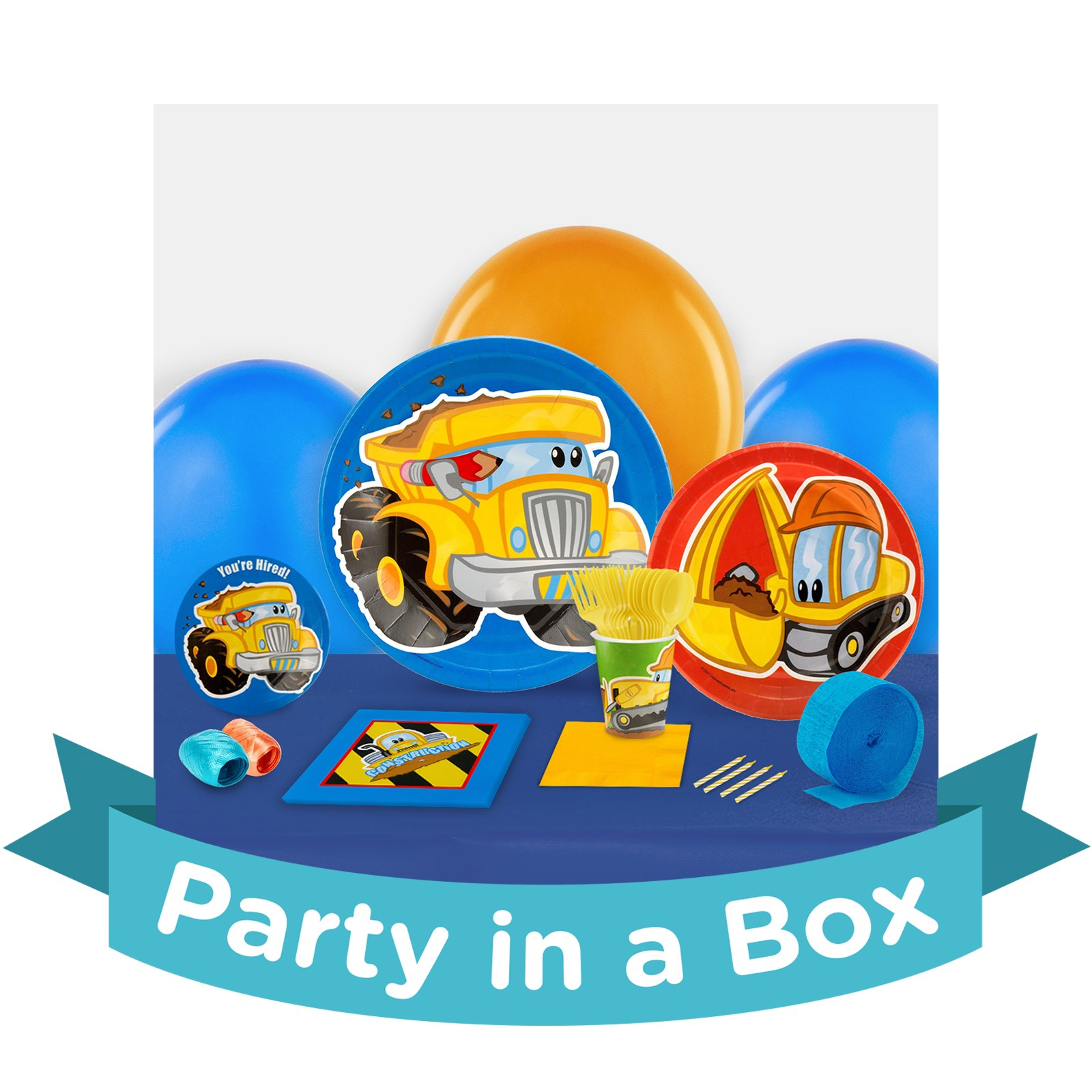 Image of Construction Pals Party in a Box - Basic - 16 Guests
