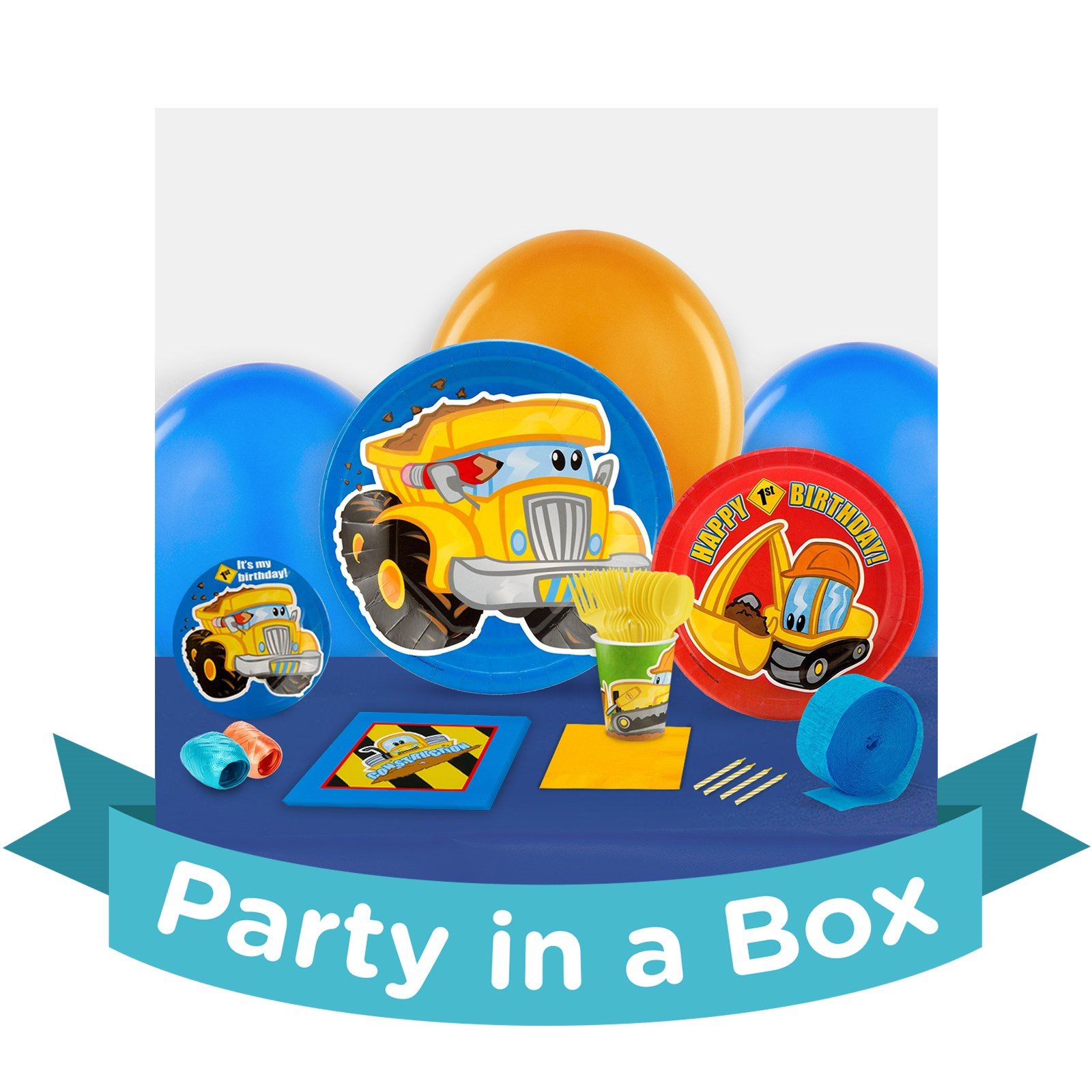 Image of Construction Pals 1st Birthday Party in a Box - Deluxe - 8 Guests