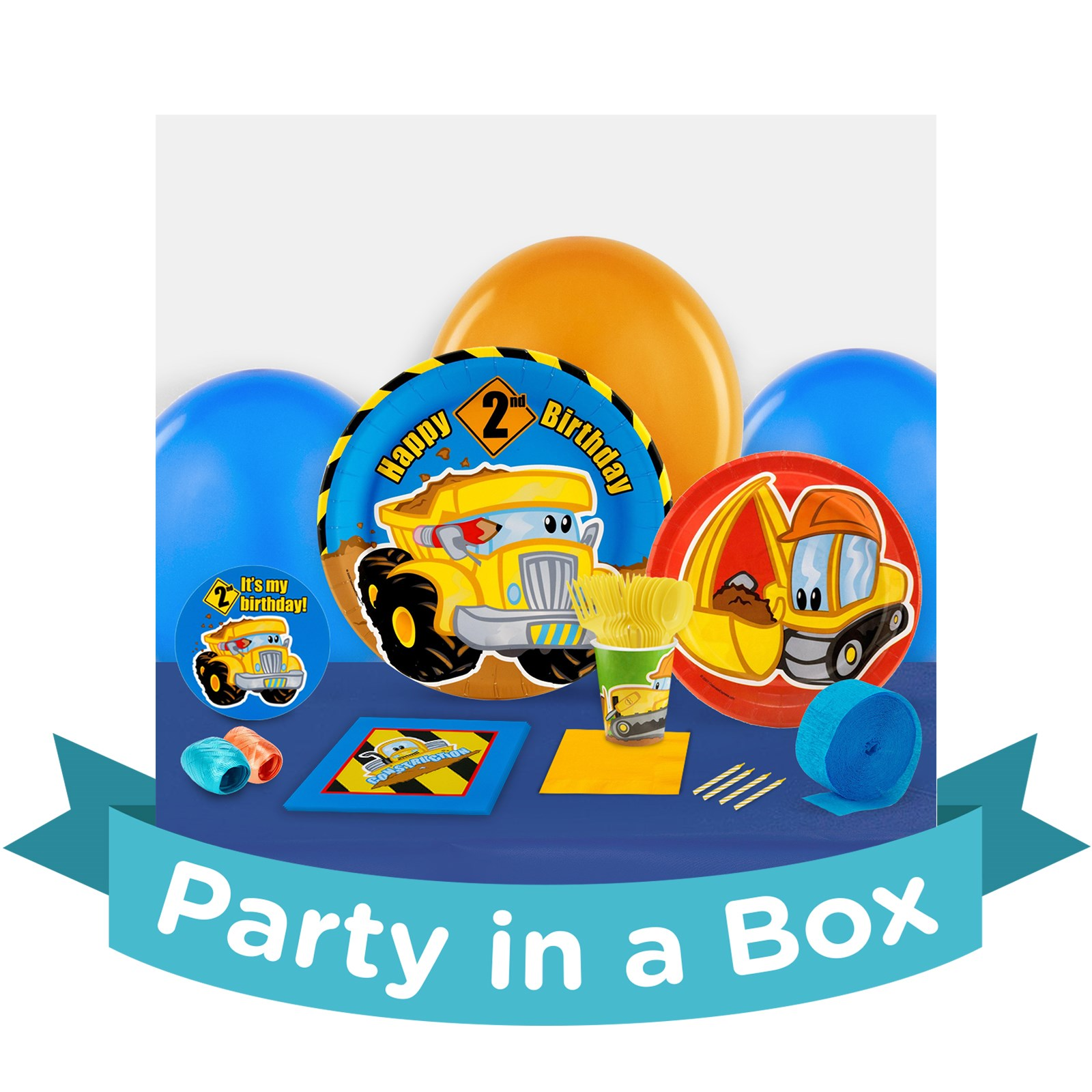 Image of Construction Pals 2nd Birthday Party in a Box - Deluxe with Favors - 16 Guests