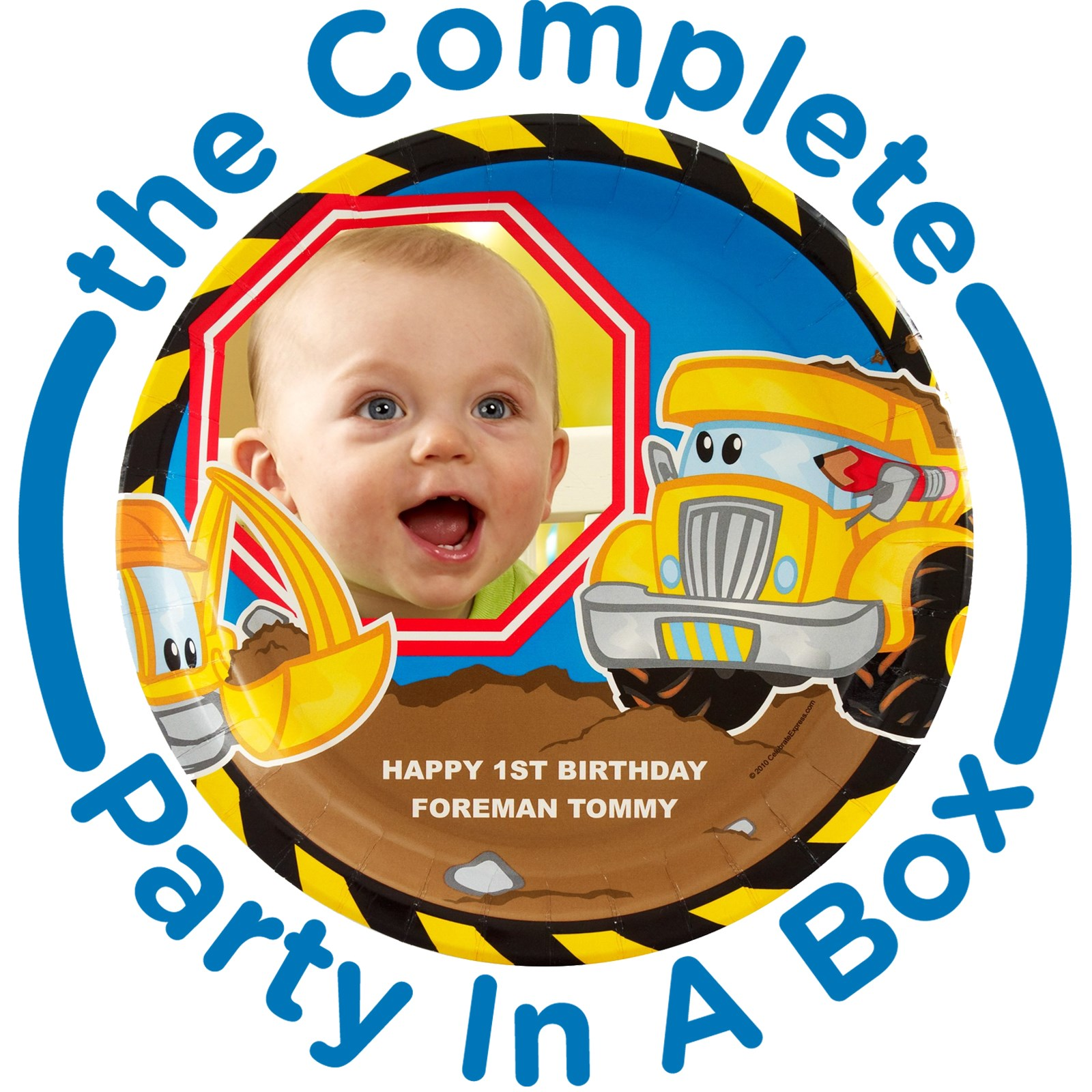 Image of Construction Pals Personalized Party in a Box - Deluxe - 8 Guests