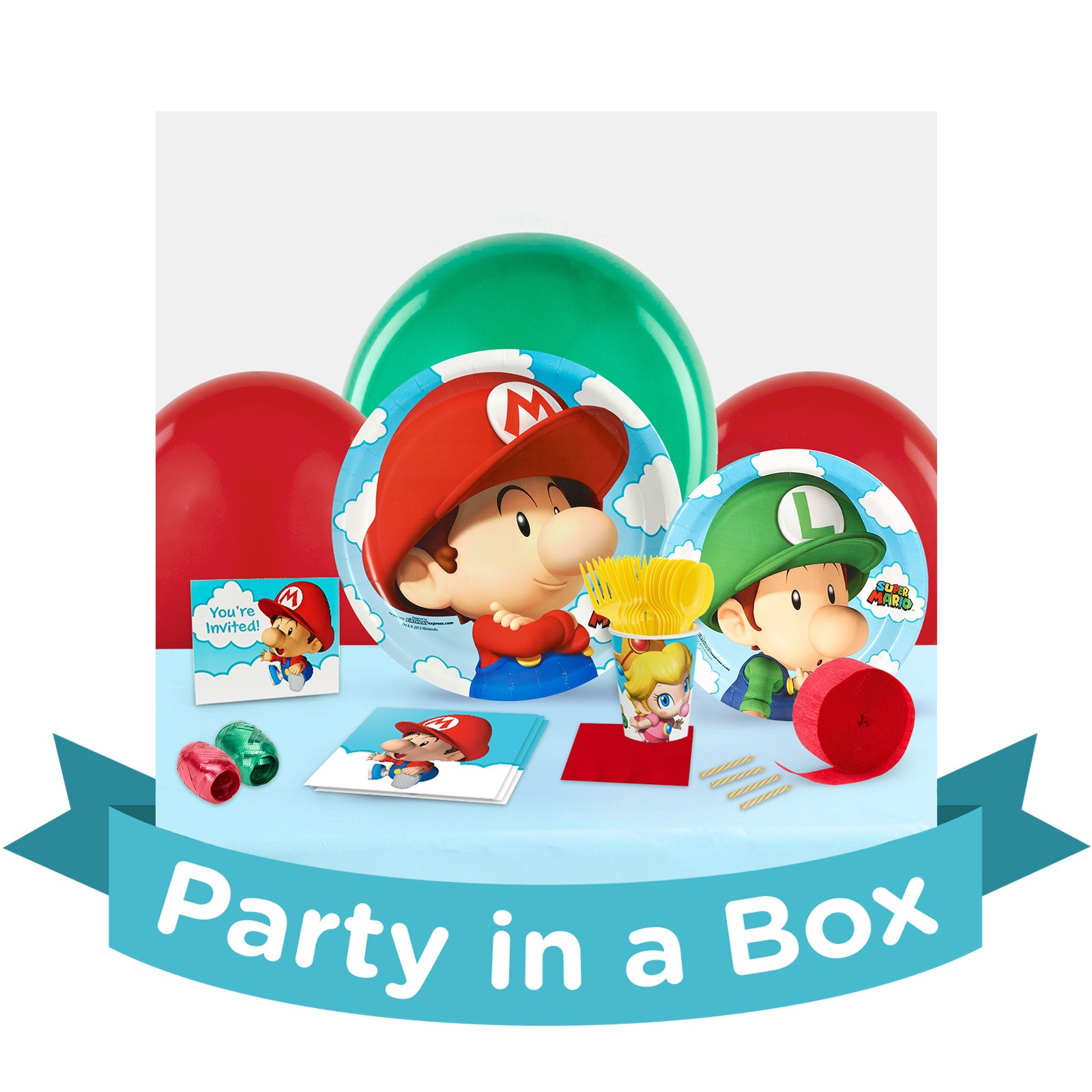 Super Mario Bros. Babies 1st Birthday Party in a Box - Basic - 16 Guests