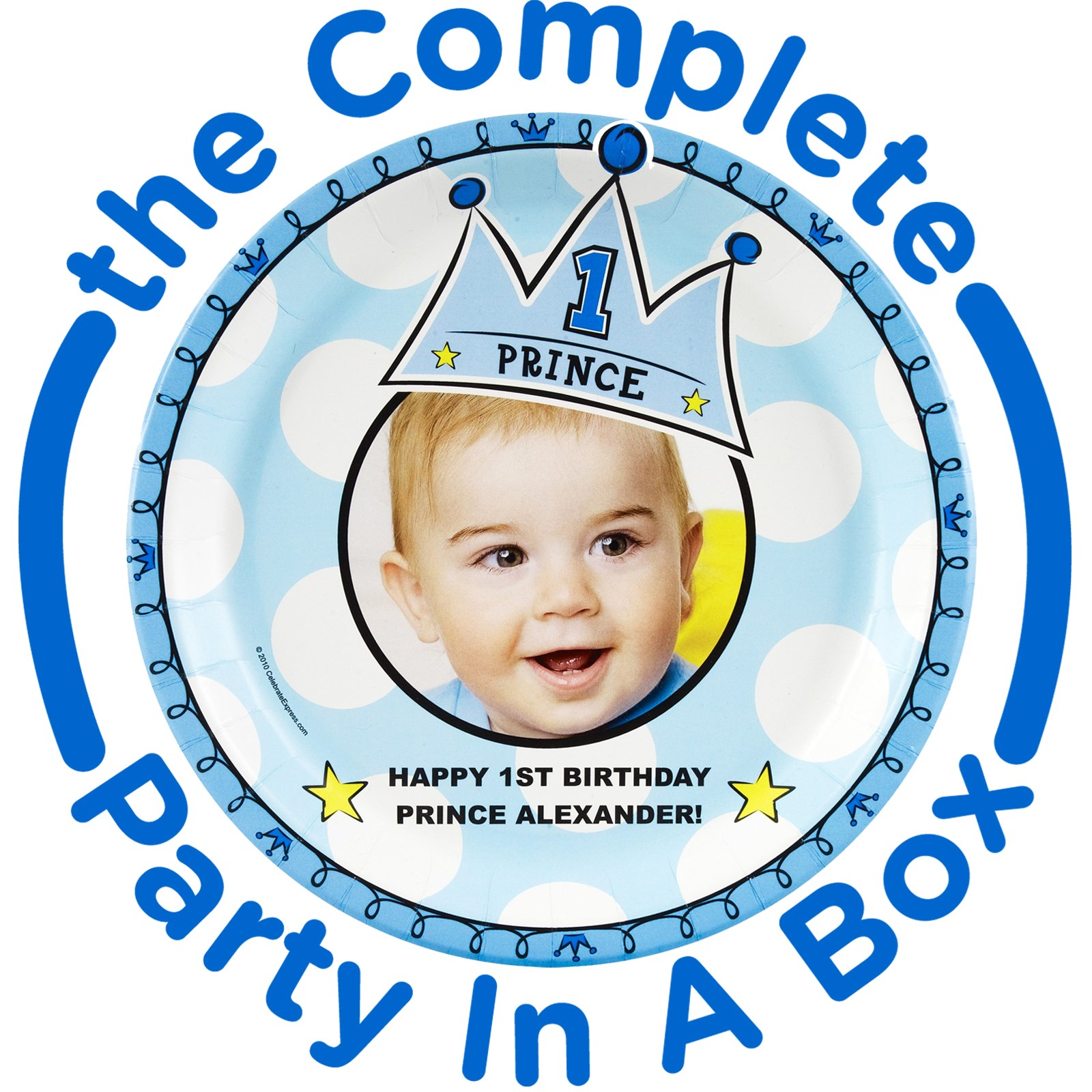 Image of Lil Prince 1st Personalized Party in a Box - Basic - 8 Guests