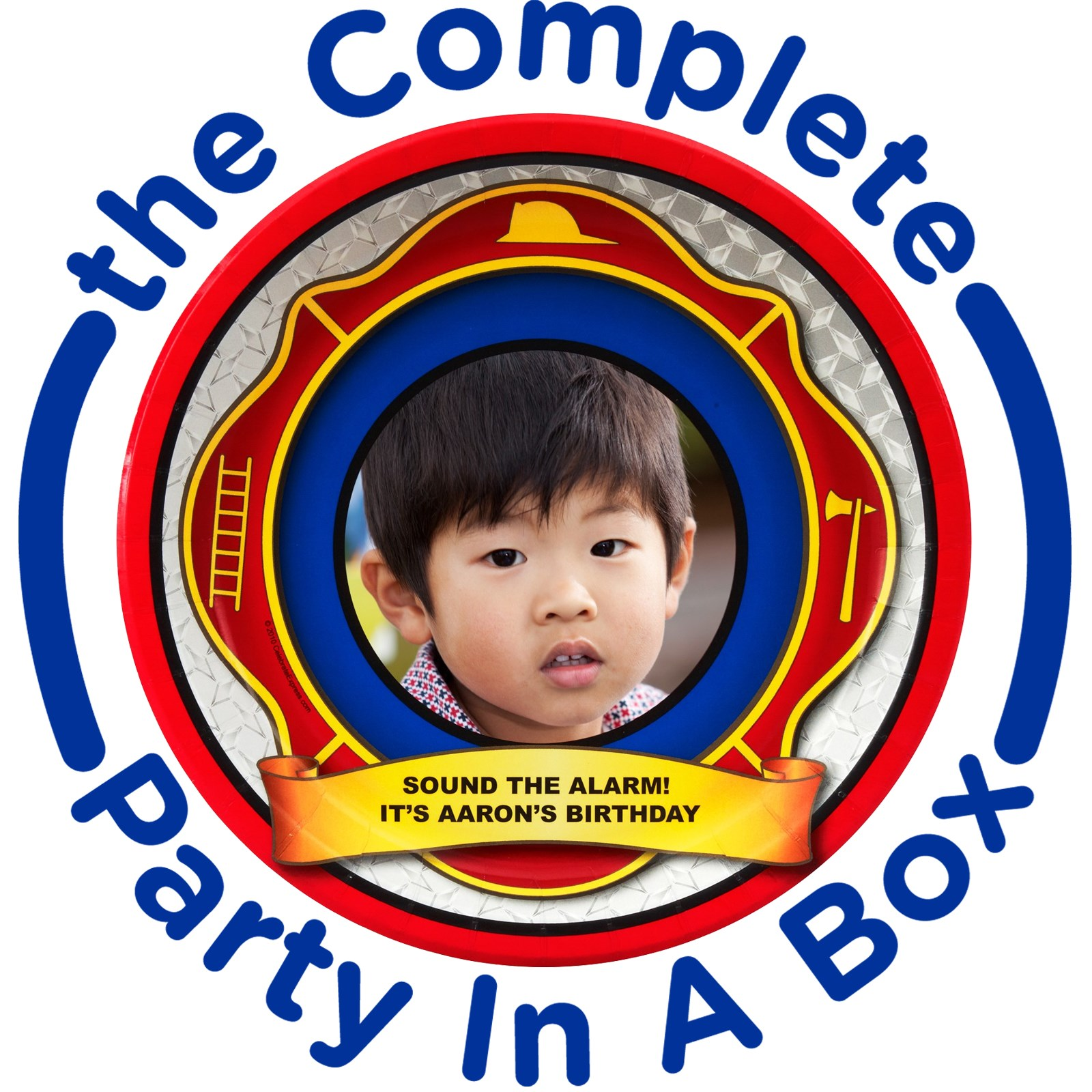 Image of Fire Trucks Personalized Party in a Box - Basic - 8 Guests