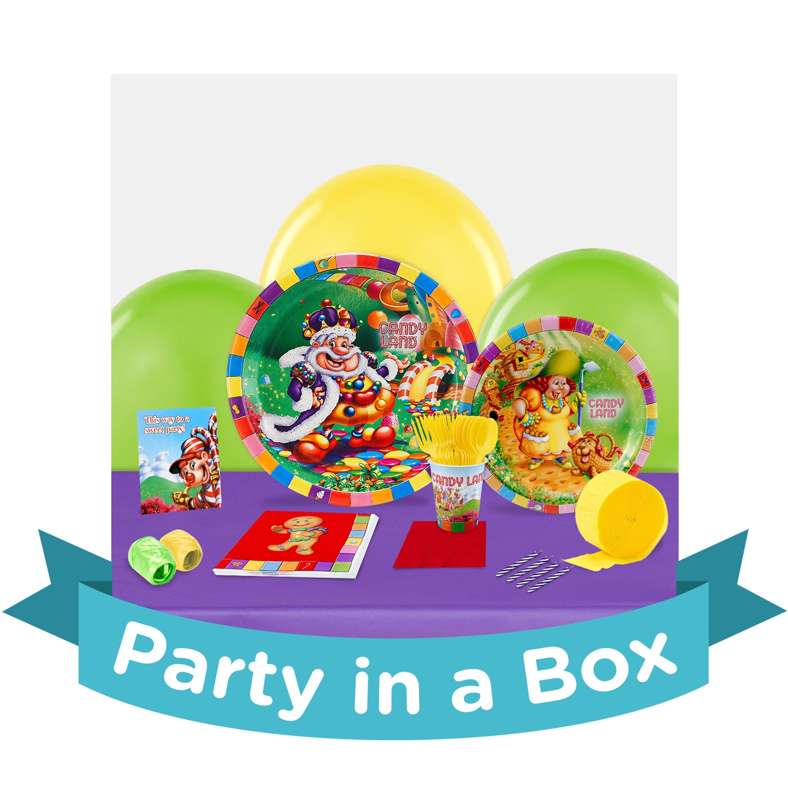 Candy Land Party in a Box - Deluxe with Favors - 16 Guests