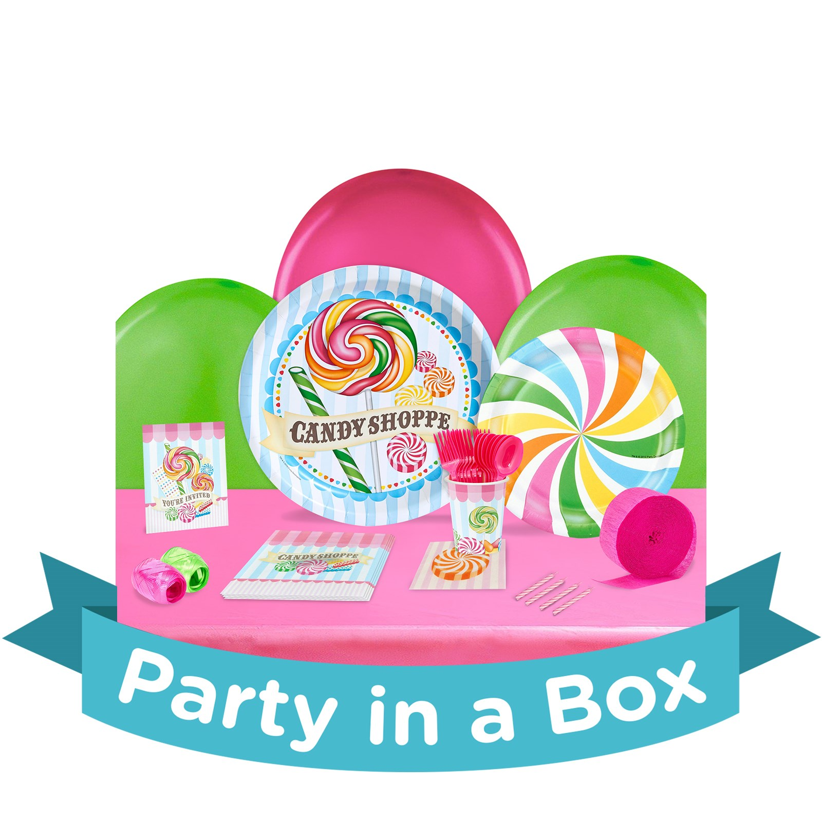 Candy Shoppe Party in a Box - Deluxe with Favors - 8 Guests