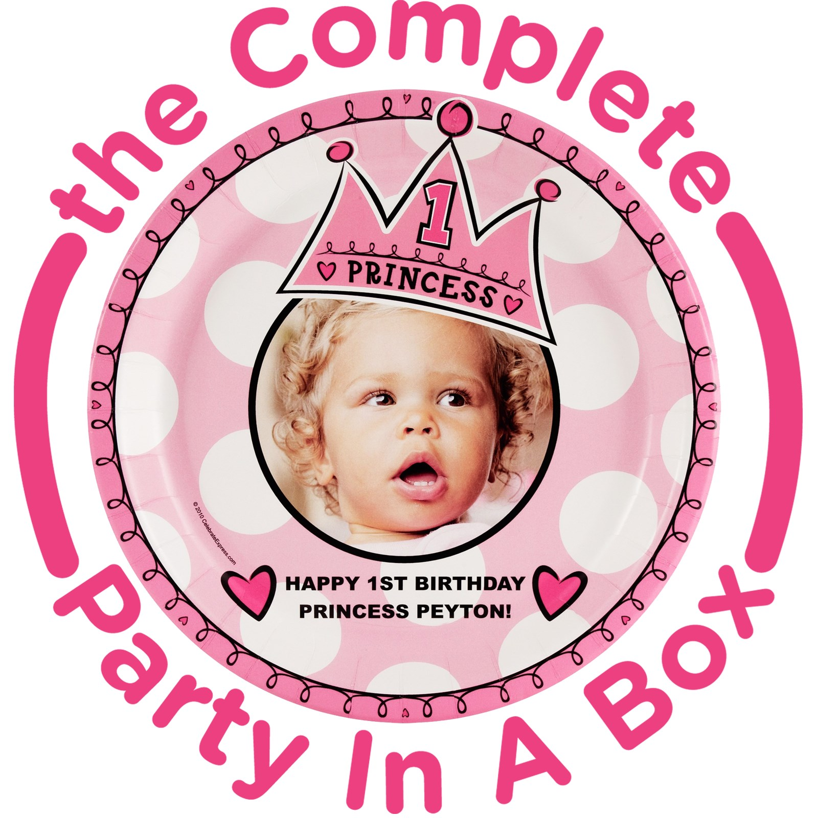 Birthday Princess 1st Birthday Personalized Party in a Box - Deluxe - 16 Guests