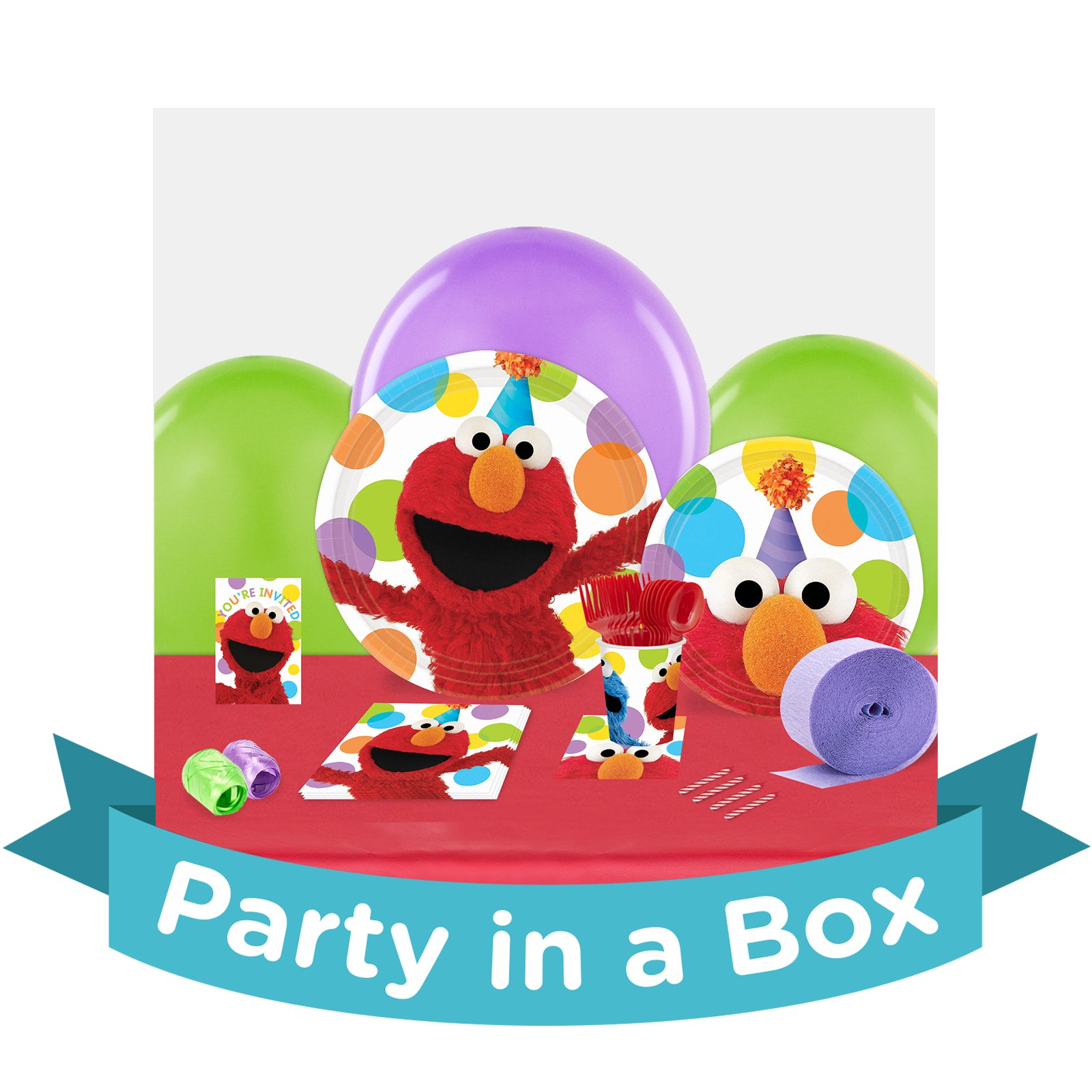 Sesame Street Elmo Party in a Box - Deluxe w/ Favors - 16 Guests