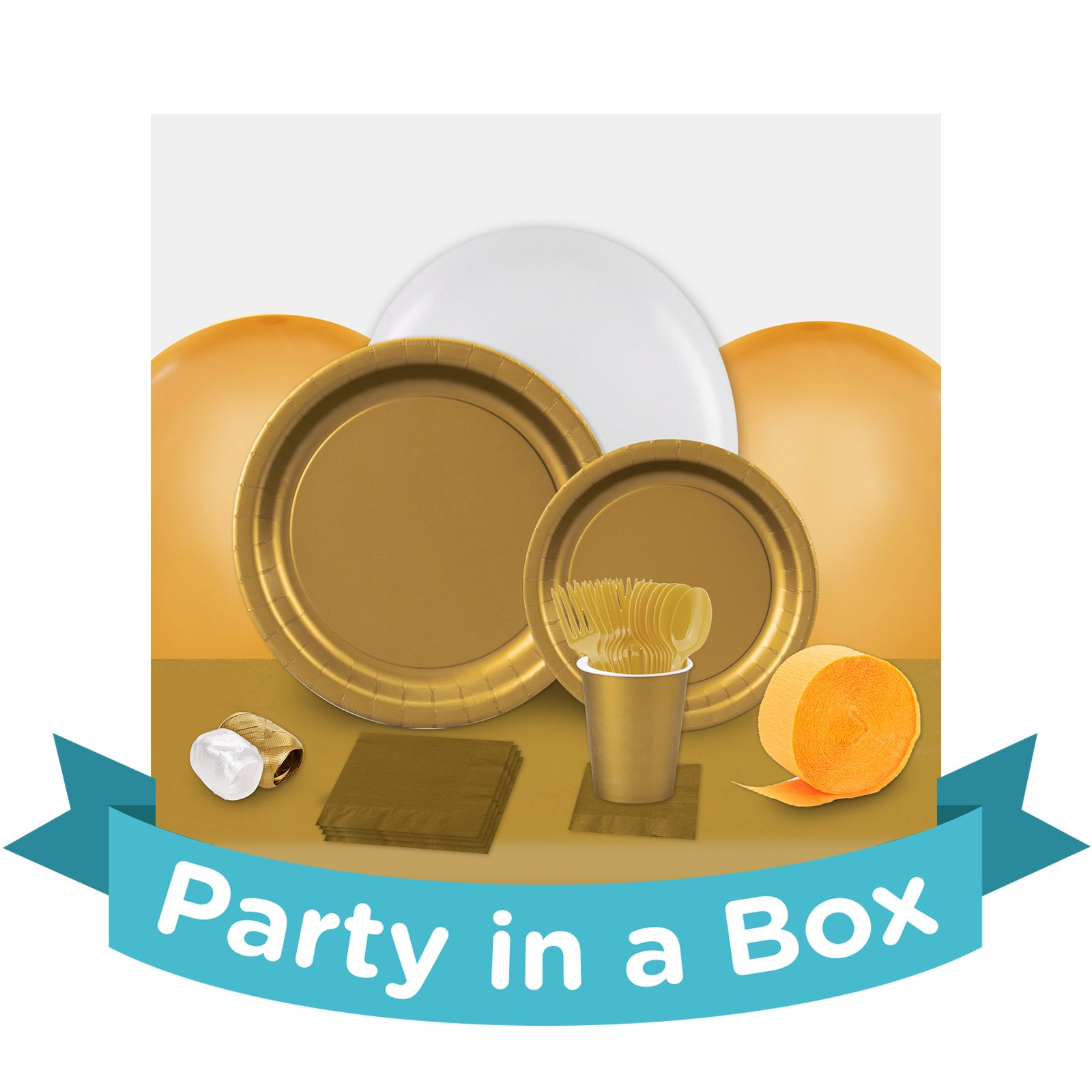 Glittering Gold Party in a Box - Basic - 24 Guests