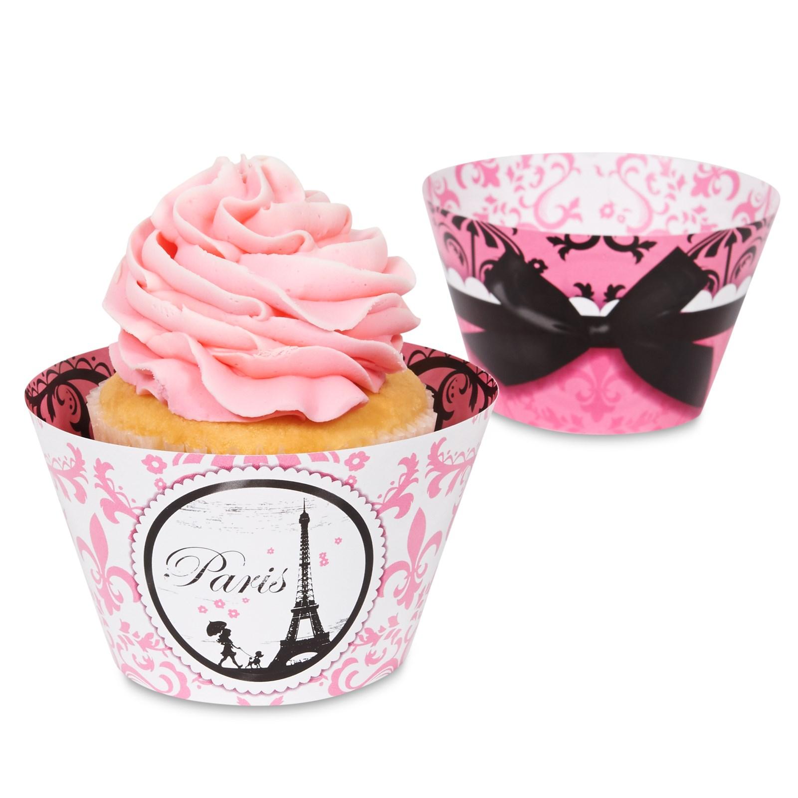 Image of Paris Damask - Reversible Cupcake Wrappers (12)