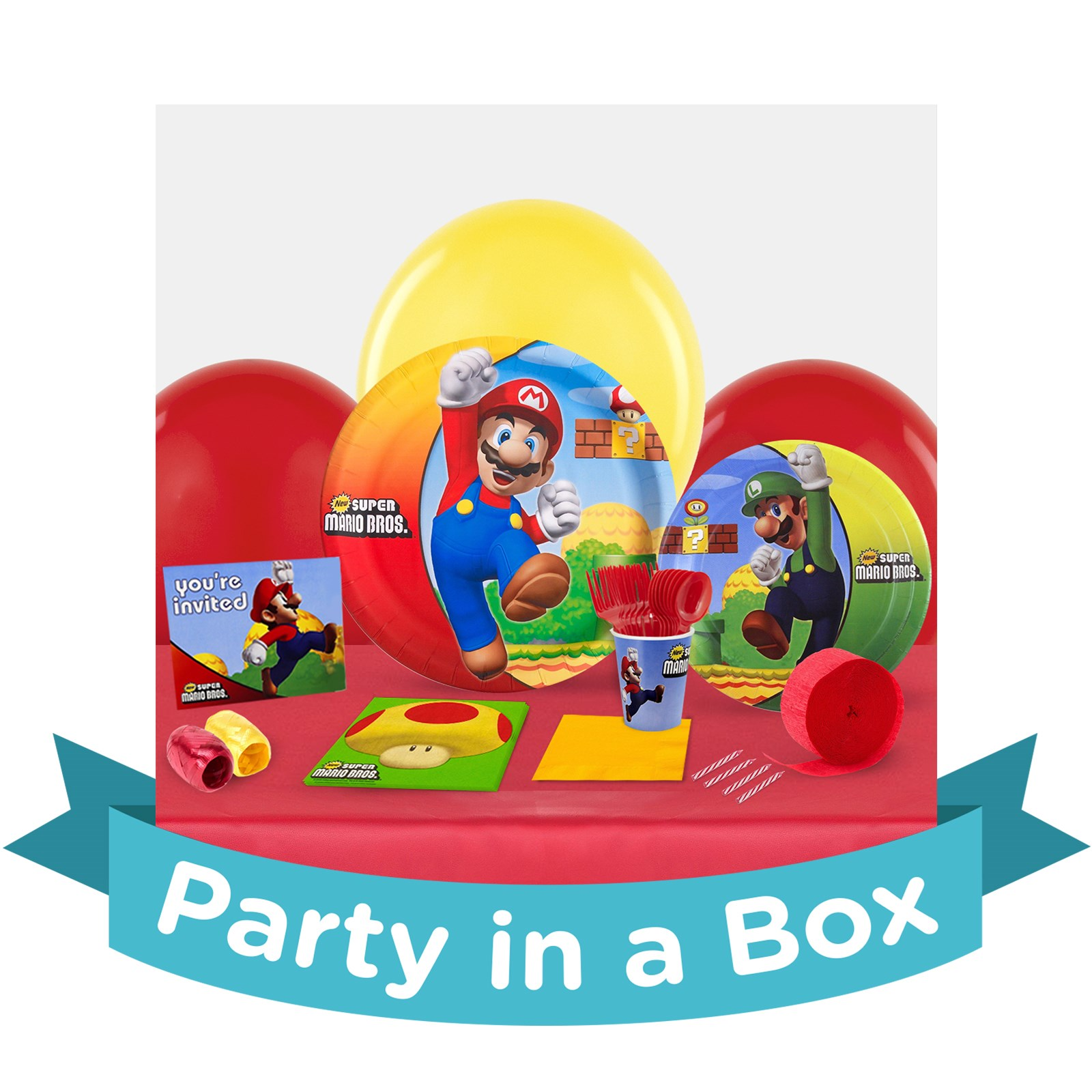 Super Mario Bros. Party in a Box - Deluxe with Favors - 8 Guests