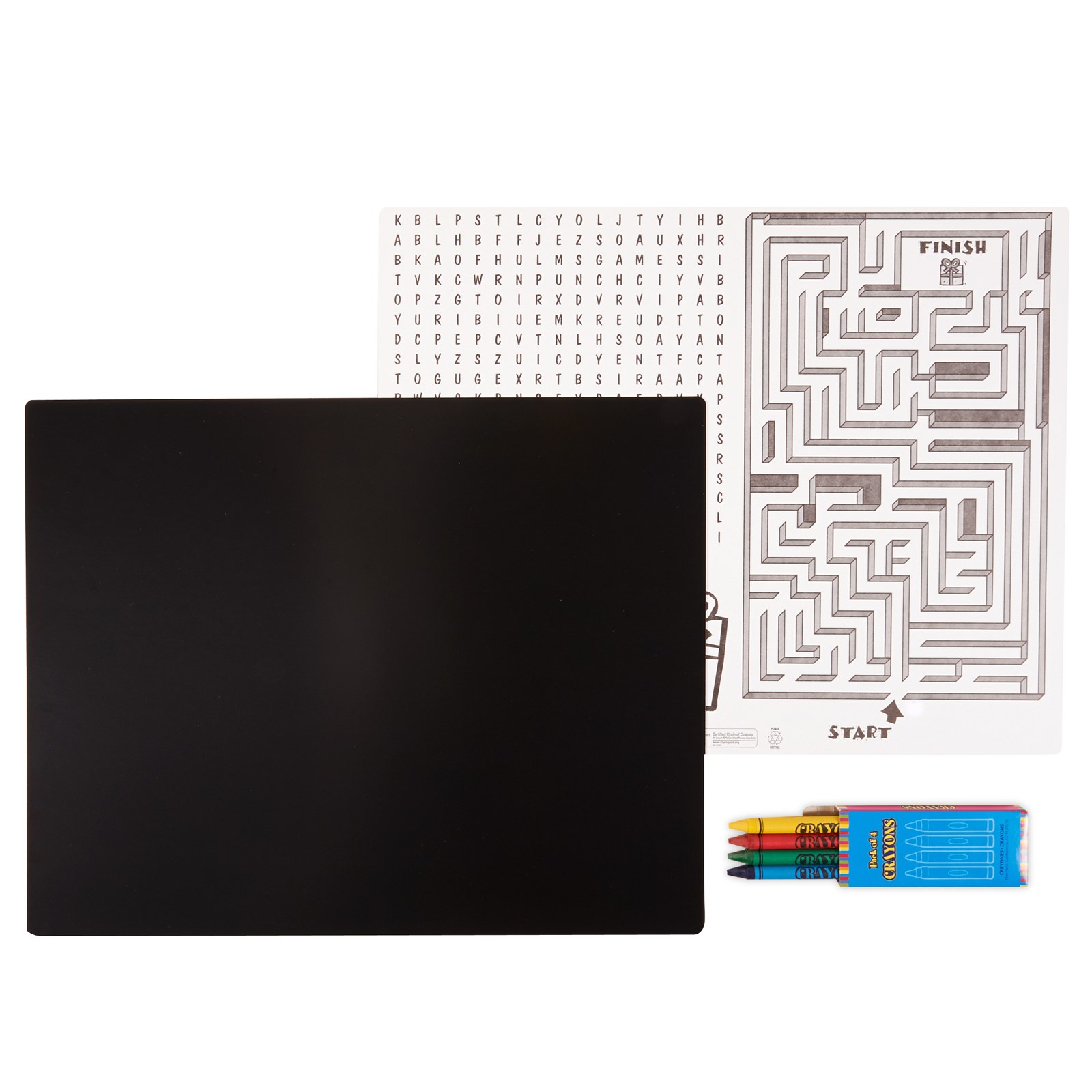 Image of Black Activity Placemat Kit for 4