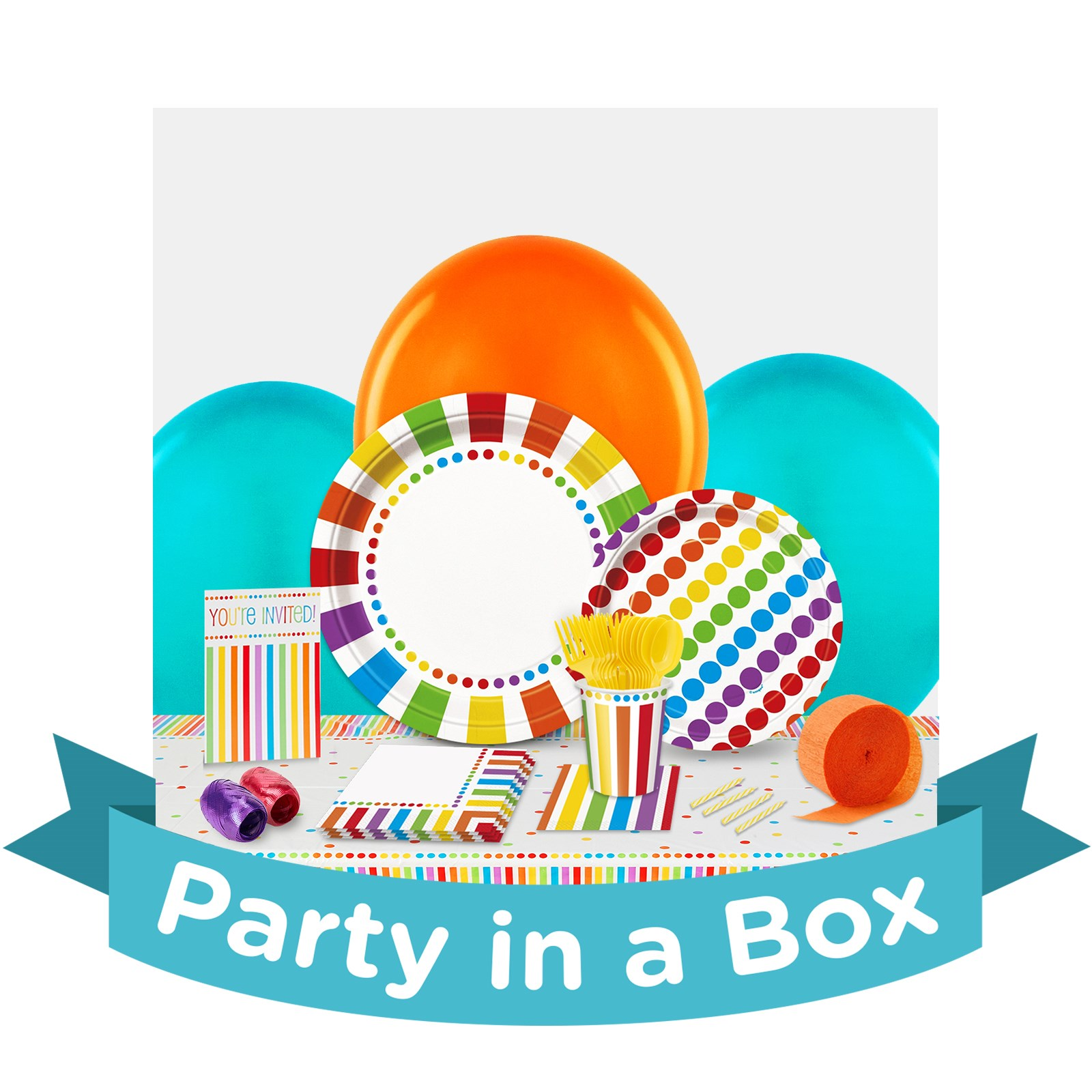 Rainbow Birthday Party in a Box - Deluxe - 16 Guests
