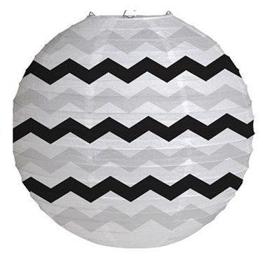 "12"" Round Paper Chevron Lantern - Black"