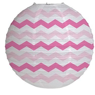 """12"""" Round Paper Chevron Lantern - Candy Pink"""