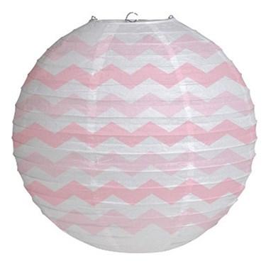"12"" Round Paper Chevron Lantern - Classic Pink"
