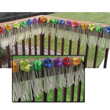 24' Deck Fringe - Natural Nylon with Hibiscus Flowers