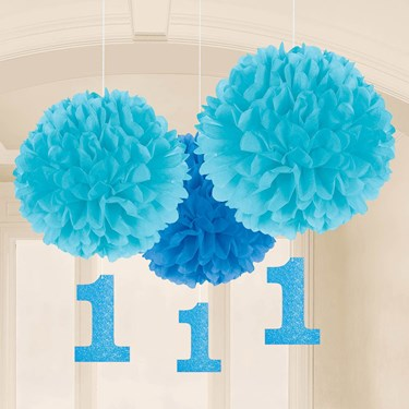 1st Birthday Blue Fluffy Hanging Decoration