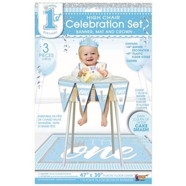 1st Birthday Blue High Chair Set
