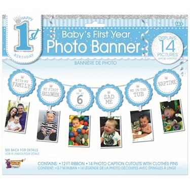 1st Birthday Blue Photo Banner