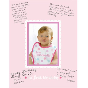 1st Birthday Girl Autograph Frame