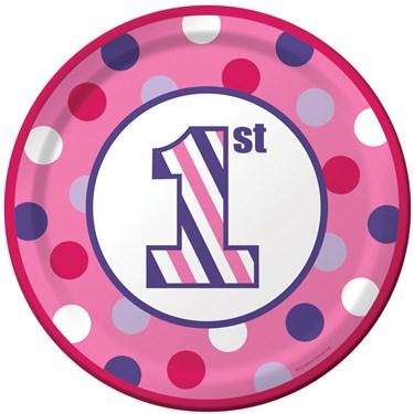 1st Birthday Girl Sweet Stripes Dinner Plates (8)