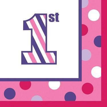 1st Birthday Girl Sweet Stripes Lunch Napkins (16)