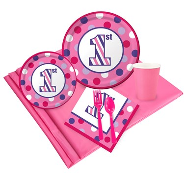 1st Birthday Girl Sweet Stripes Party Pack