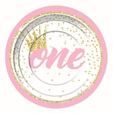 """1st Birthday Pink 7"""" Dessert Plate (8)"""
