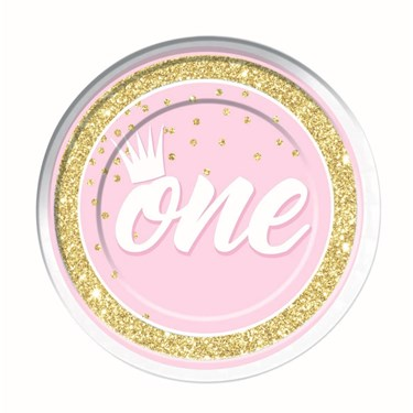 """1st Birthday Pink 9"""" Lunch Plate (8)"""