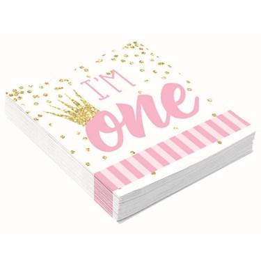 1st Birthday Pink Beverage Napkin (16)