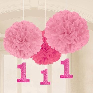 1st Birthday Pink Fluffy Hanging Decoration