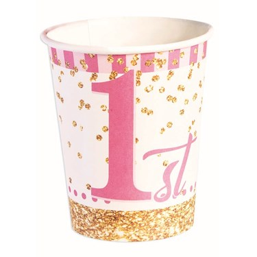 1st Birthday Pink Paper 9oz Cups (8)