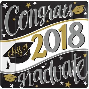 2018 Graduation 7 Square Dessert Plate (18 Count)