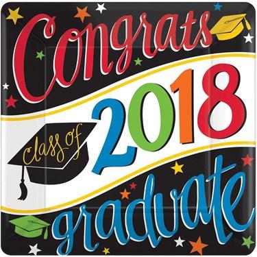 2018 Graduation Colorful 7 Square Dessert Plate (18 Count)