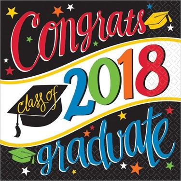 2018 Graduation Colorful Beverage Napkins (36 Count)