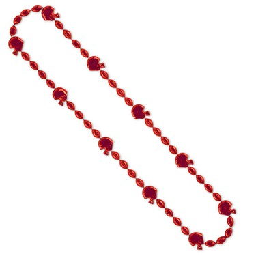 Red Football Beads 36""