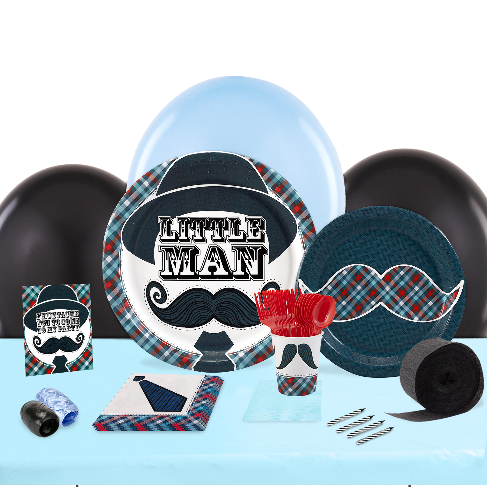 Little Man Mustache Party in a Box For 8-Basic