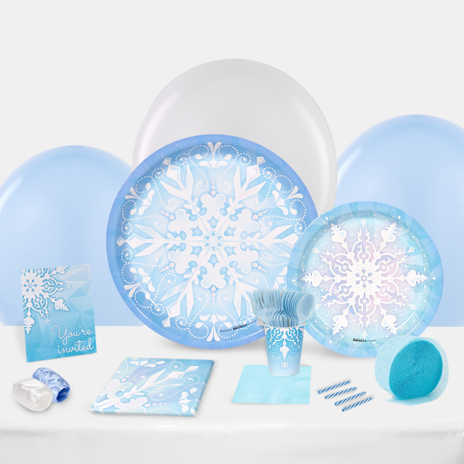 Snowflake Winter Wonderland Party in a Box For 8-Basic