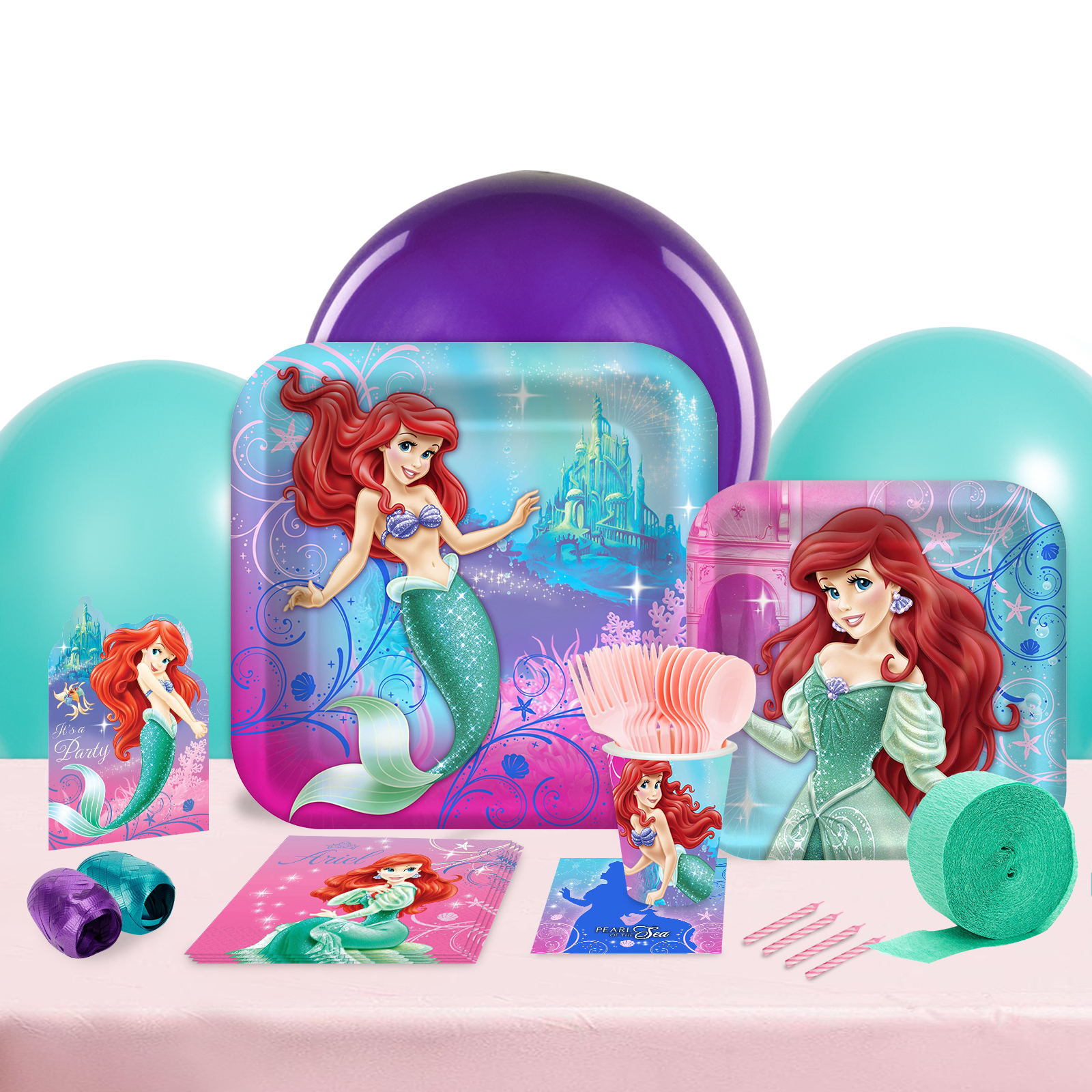 Disney The Little Mermaid Sparkle Party in a Box For 8-Basic