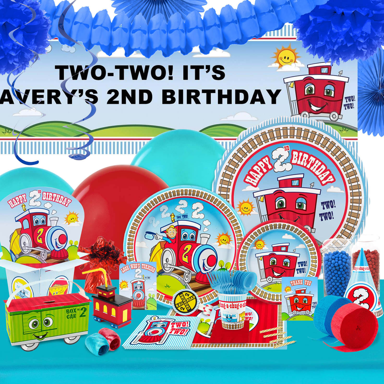 Two Two Train 2nd Birthday Party In A Box For 8