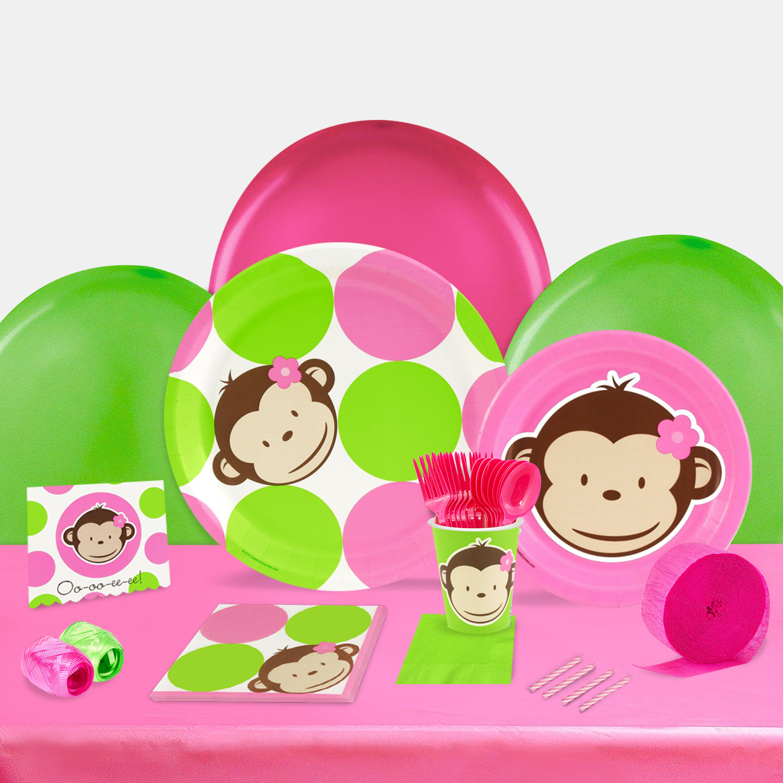 Pink Mod Monkey Party in a Box For 8-Basic