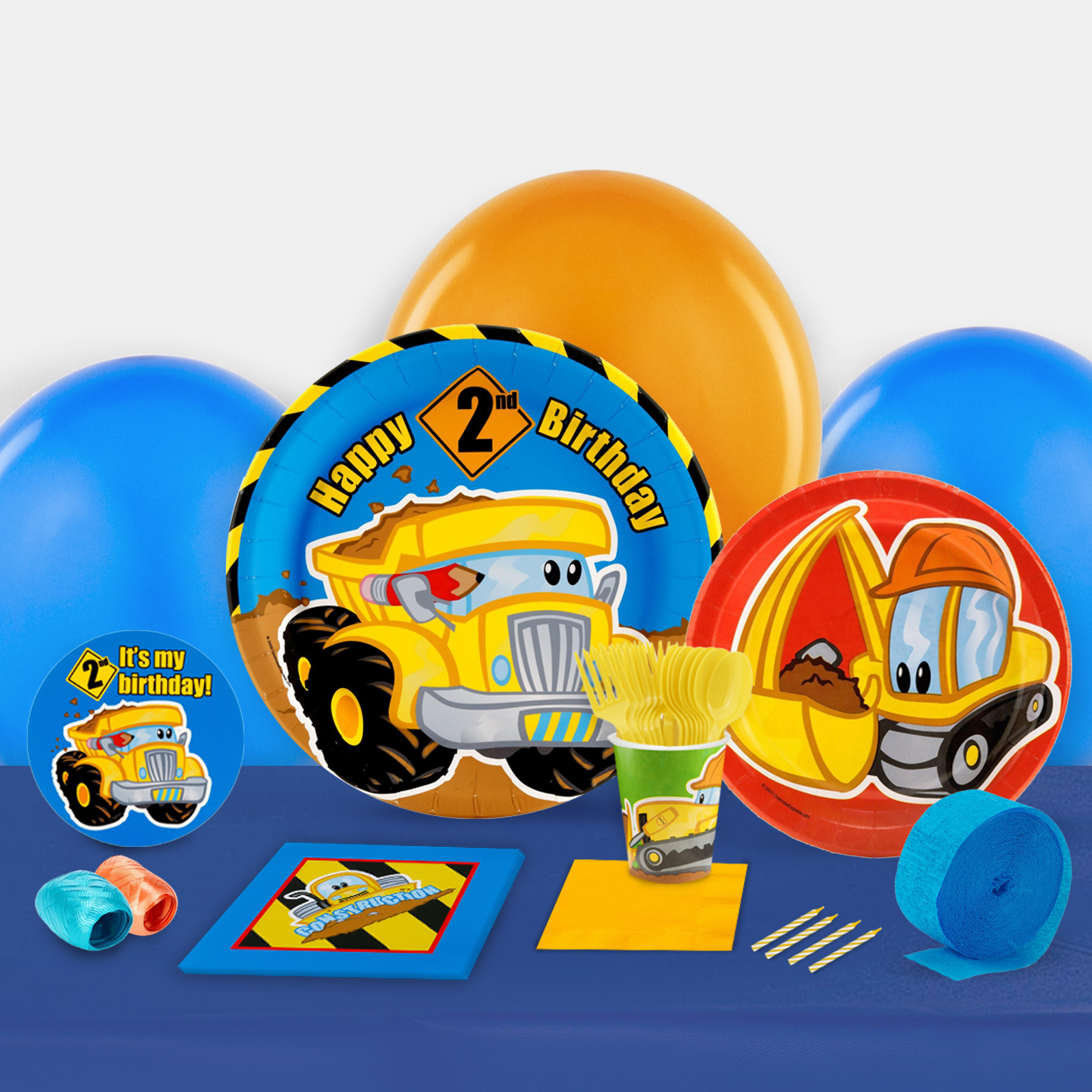 Construction Pals 2nd Birthday Party in a Box For 8-Basic