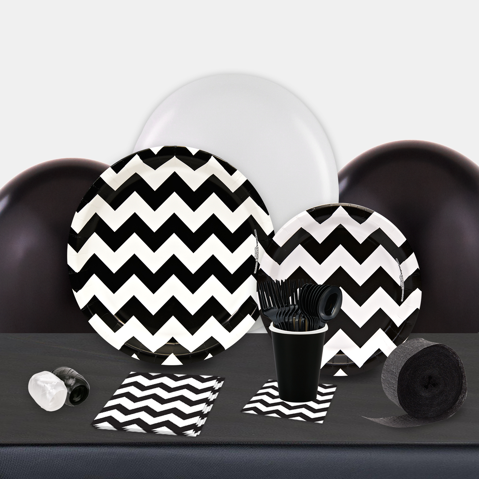 Chevron Black Party in a Box-Basic