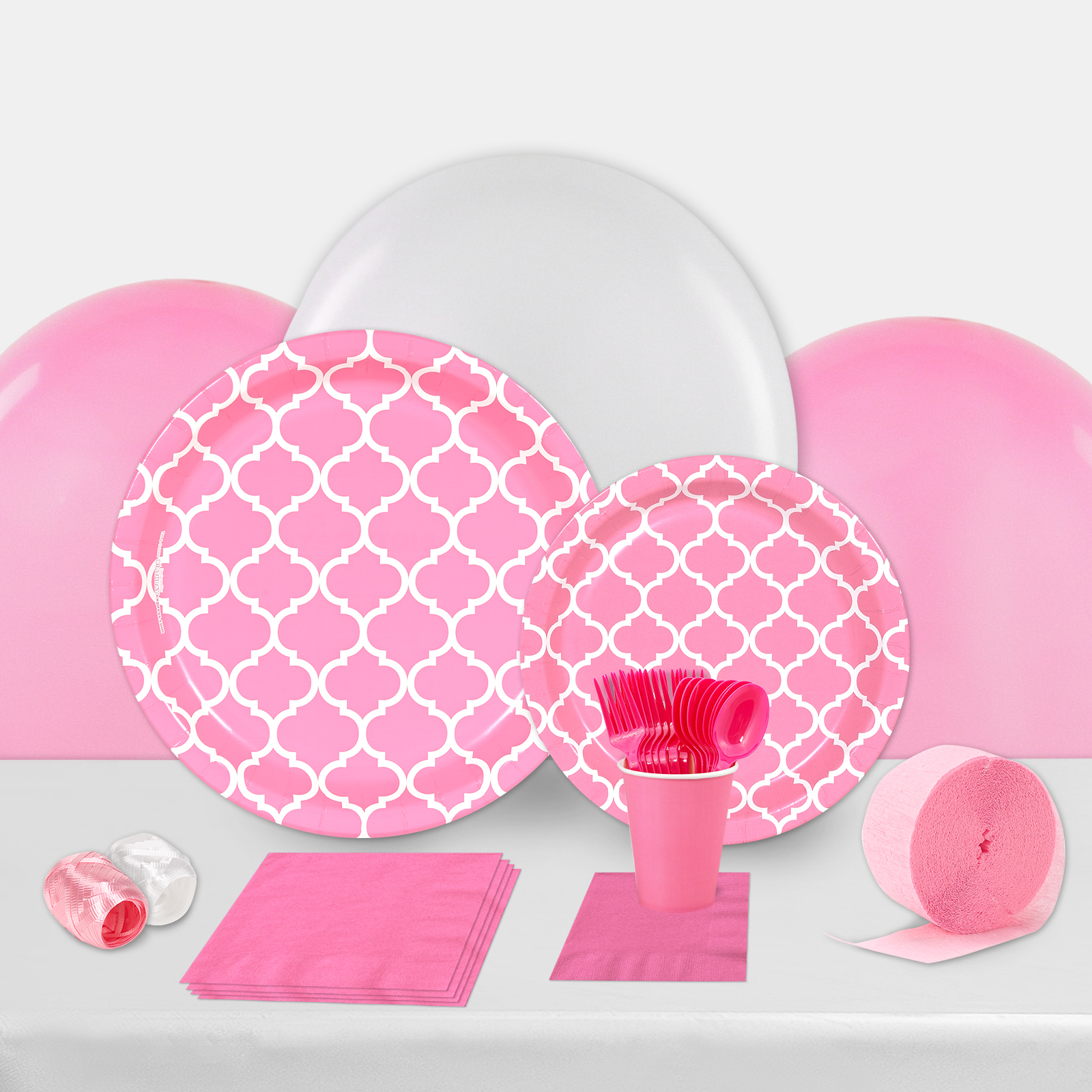 Candy Pink Quatrefoil Party in a Box-Basic